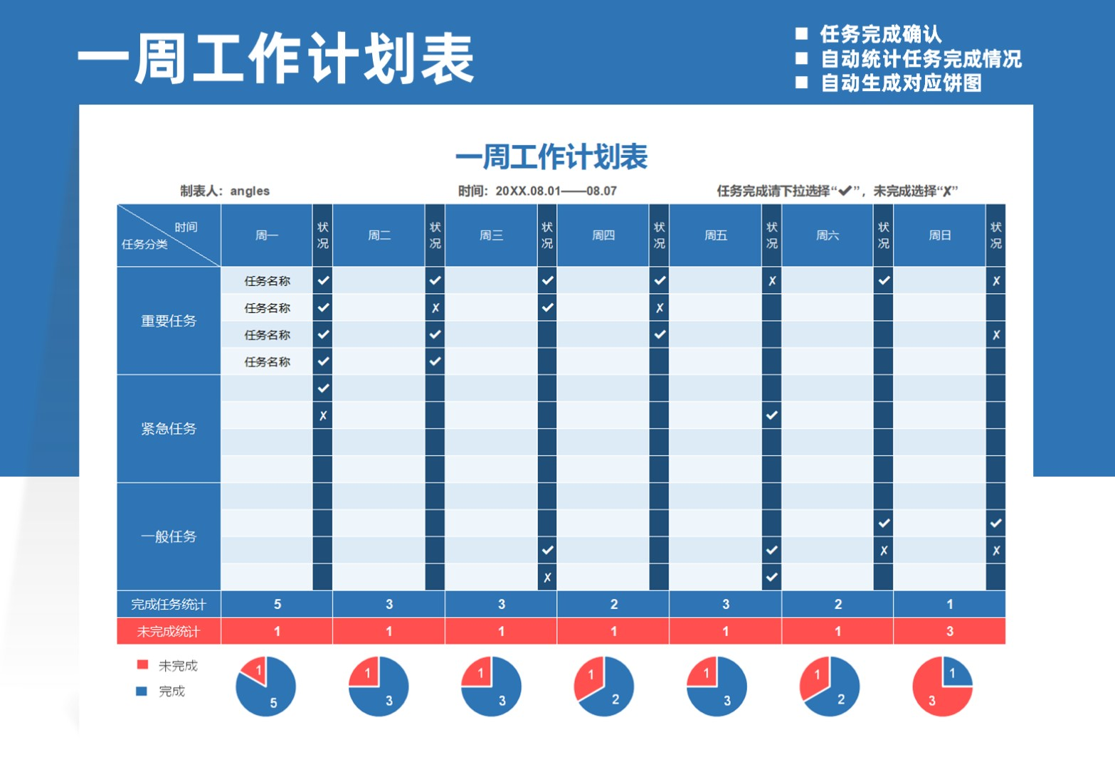 一周工作计划表自动统计转化图表.xlsx
